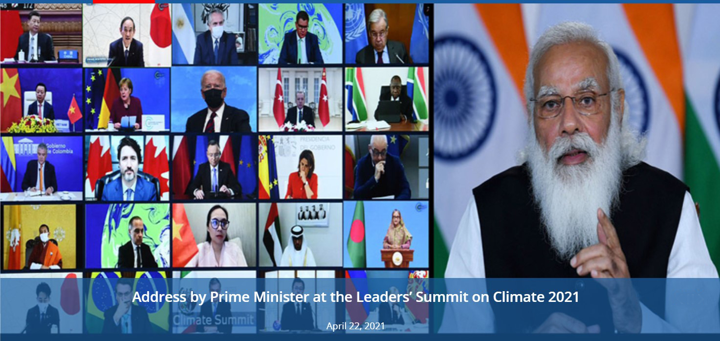 Address by Prime Minister His Excellency Shri Narendra Modi at the Leaders' Summit on Climate 2021