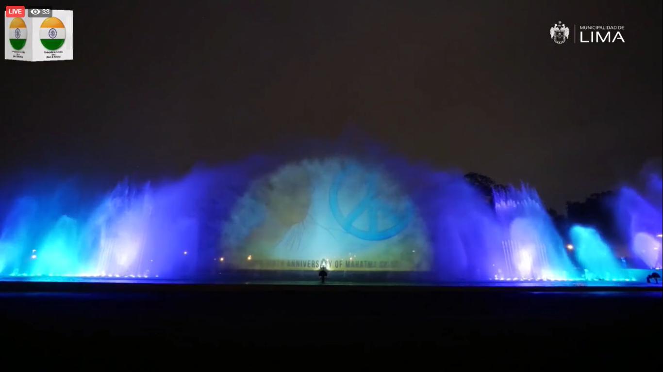 Mahatma Gandhi's legacy illuminates the Magic Fountains of Lima
